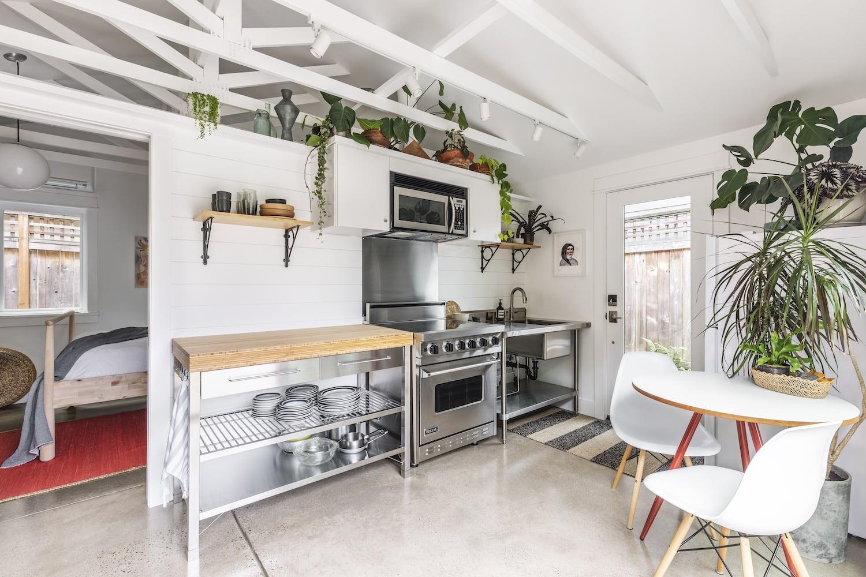 Beech Haus ADU - Kitchen, Vaulted Ceiling, Open Shelving, Stainless Steel, Door to Bedroom, Plant Shelf