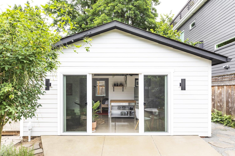 Beech Haus ADU - Exterior View, Garage Conversion, Double Sliding Doors, Horizontal Siding