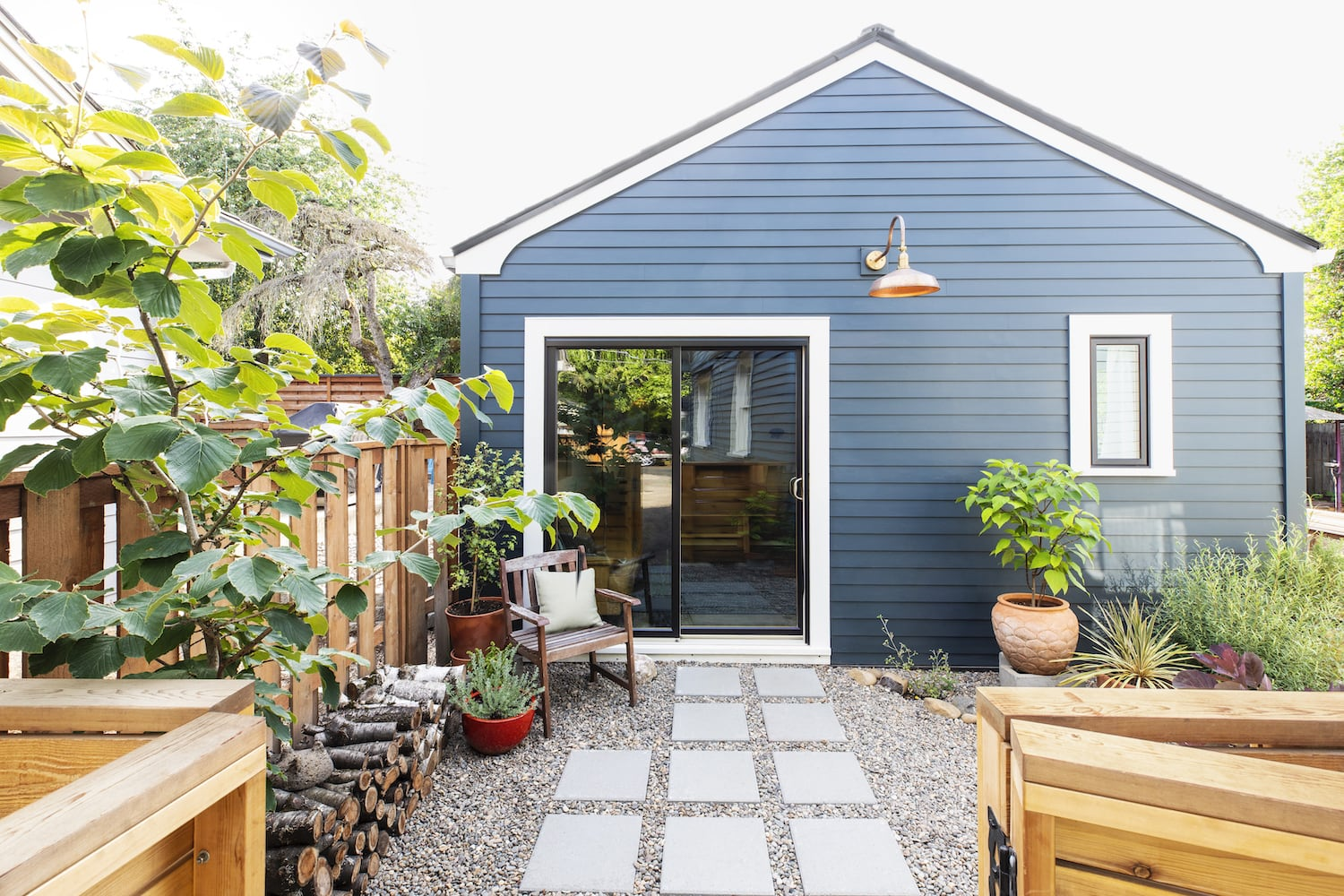 Exterior of garage conversion to guest house/ADU remodel in Portland, Oregon