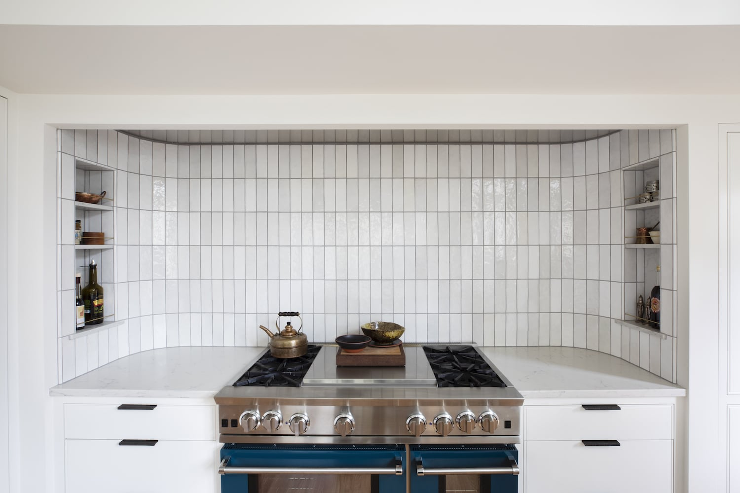 Willamette Heights - traditional white kitchen, range alcove, spice niches, colorful range