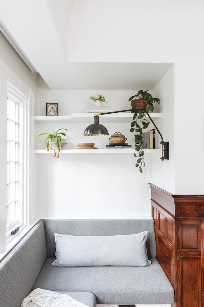 Willamette Heights - traditional kitchen nook, built in banquette, swing arm sconce