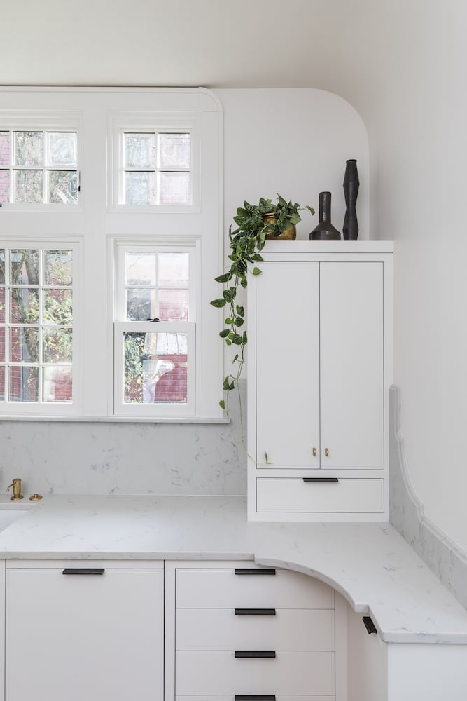 Willamette Heights - traditional white kitchen, quartz marble counters, appliance garage coffee station