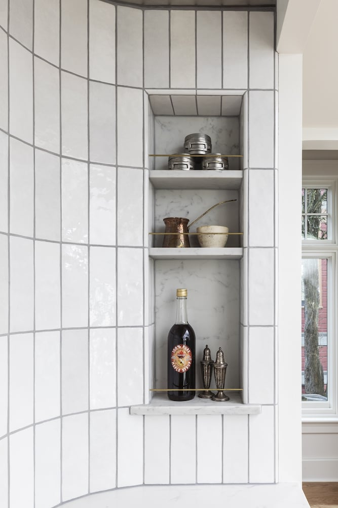 Willamette Heights - spice and oil niche detail at curved range alcove, white tile