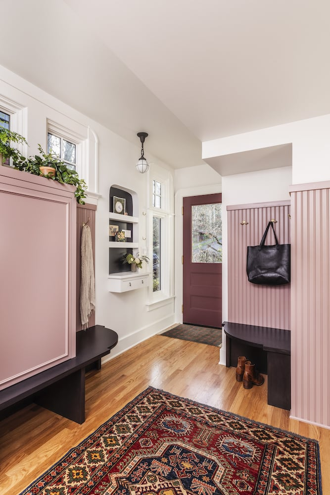Willamette Heights - traditional mudroom, painted pink cabinets, built in message center