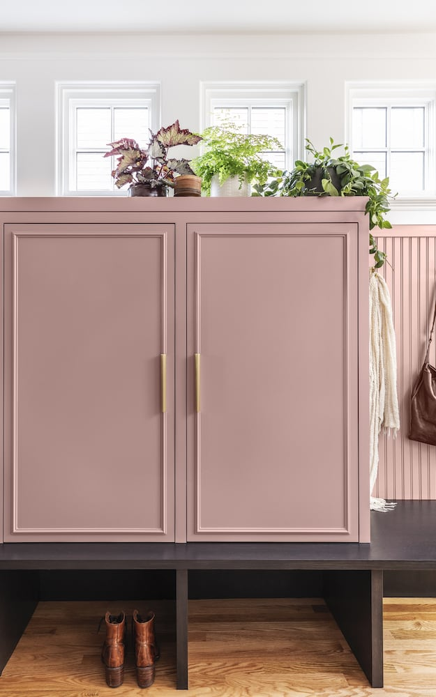 Willamette Heights - mudroom lockers, painted pink cabinets, brass hardware