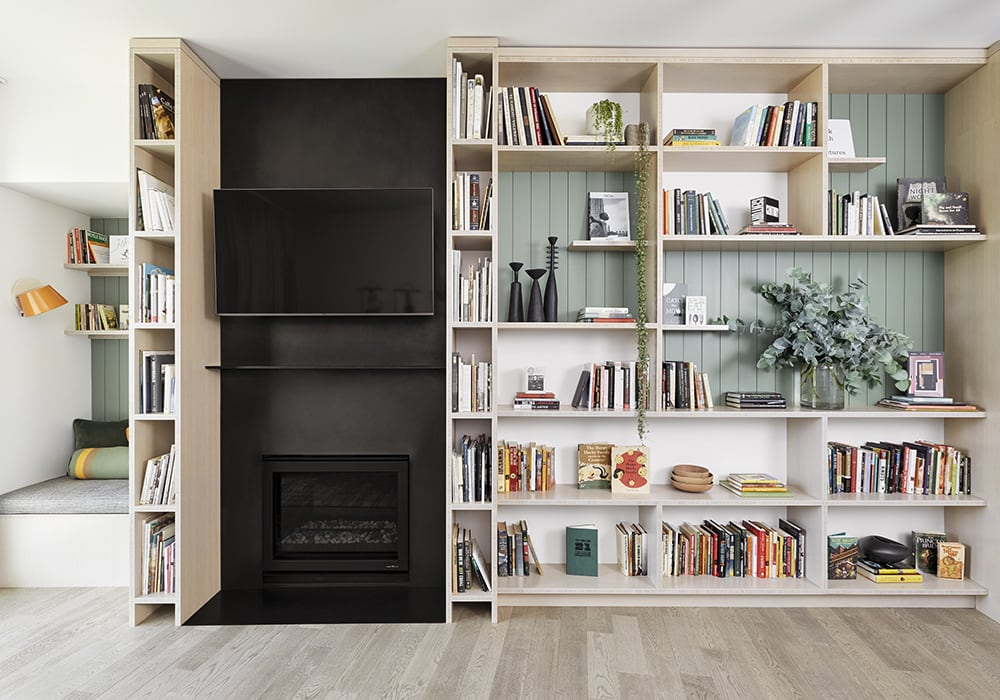 Condo Remodel, Bookshelves, Steel Fireplace, Reading Nook - Books & Shoes