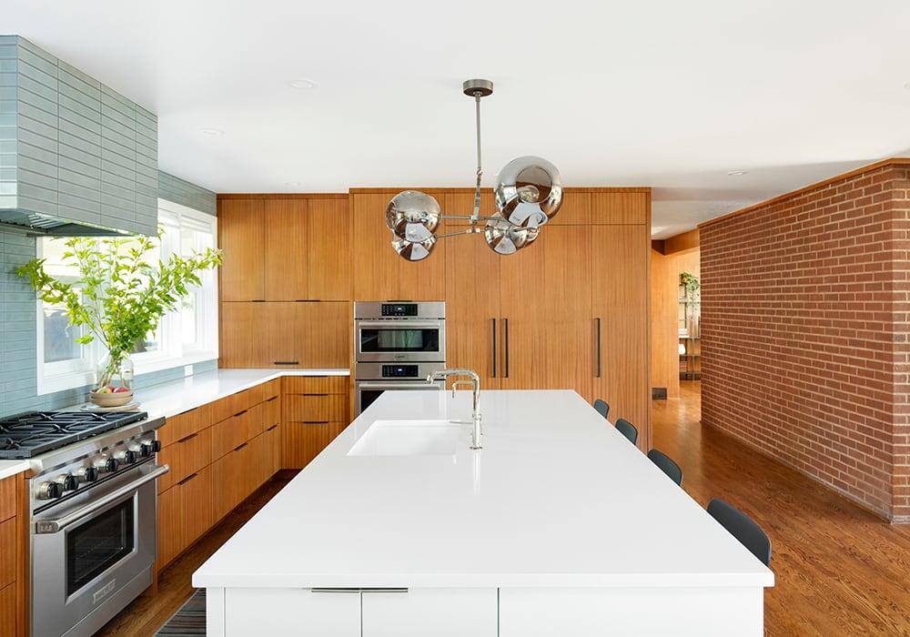 Kitchen, Mahogony Cabinets, White Countertop, Ann Sacks Tile - Bridlemile Midcentury