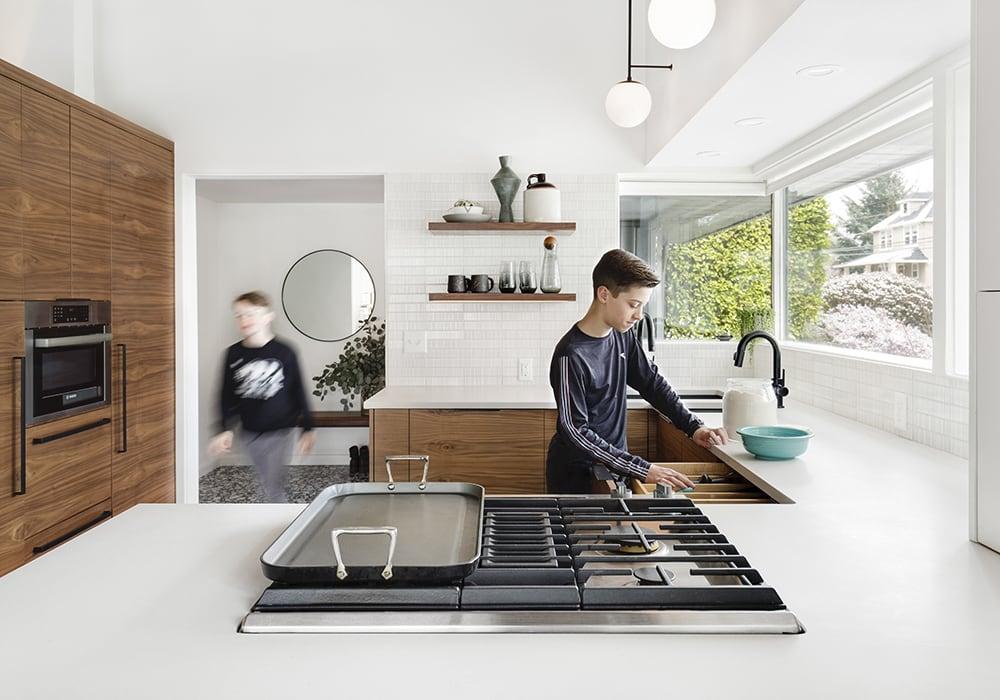 Midcentury Remodel, Kids Cooking, Walnut Cabinets, Floating Shelves - Burlingame Kitchen